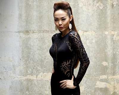 Trong những bộ ảnh thời trang hay trên sân khấu ca nhạc, Minh Hằng đều khéo khoe sự quyến rũ với kiểu trag phục này.