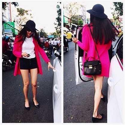 Một trong những bộ cánh street style màu sắc nổi bật hiếm hoi của nữ người mẫu.