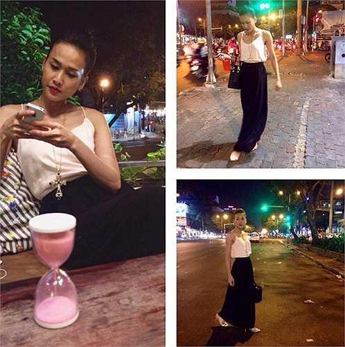 Ngoài áo thun đơn giản, bạn gái của Bằng Kiều cũng thường xuyên diện mốt váy dài kết hợp cùng áo dây gợi cảm khi thả dáng trên những con phố về đêm.
