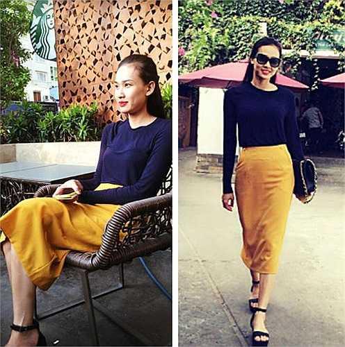 Chân váy bút chì gam màu vàng mix nhã nhặn cùng áo thun dáng dài. Bộ cánh bình dân với cách phối màu trơn và tối giản họa tiết.