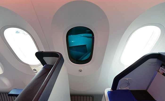 Cửa sổ làm bằng nguyên vật liệu mới, có chiều rộng 28cm, cao 47cm, lớn hơn so với các loại máy bay thông thường 1,3 lần. Điều này giúp cho khách không ngồi sát cửa cũng có thể cảm nhận được quang cảnh bên ngoài