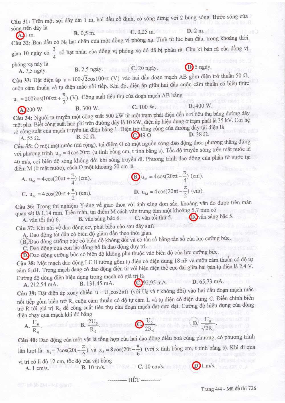 đáp án thi vật lý