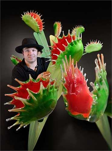 Những bông hoa bằng kính mà nghệ nhân Jason Gamrath chế tạo bằng kĩ thuật độc đáo của mình có kích thước khổng lồ, thường là to hơn một đầu người.