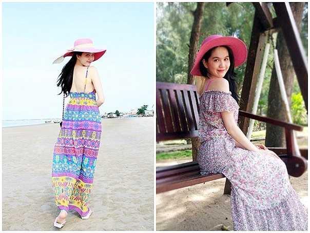 Váy maxi dáng dài có màu sắc tươi trẻ được nhiều tín đồ thời trang diện đi biển, Ngọc Trinh là một trong số đó. Nữ người mẫu duyên dáng hơn khi kết hợp cùng mũ rộng vành.