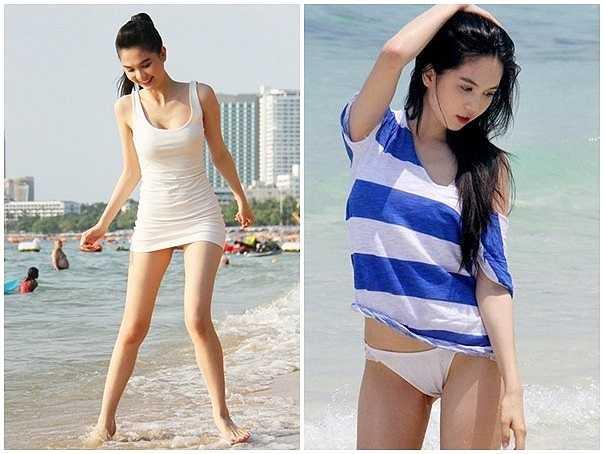 Áo thun cũng là một trong những chọn lựa tạo sự thoải mái, năng động được nhiều người đẹp ứng dụng. Trên một bãi biển vắng người, 'nữ hoàng nội y' khá kín khi diện mẫu áo thun ôm dáng. Ngày khác cô mặc áo thun sọc kẻ, dáng rộng thoải mái và năng động