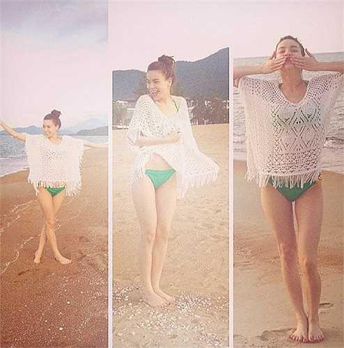 'Nữ hoàng giải trí' Hồ Ngọc Hà khá sáng tạo trong thời trang. Khi mốt áo lưới tràn ngập đường phố, bà mẹ một con cũng tinh tế lựa chọn kết hợp cùng bikini gợi cảm.