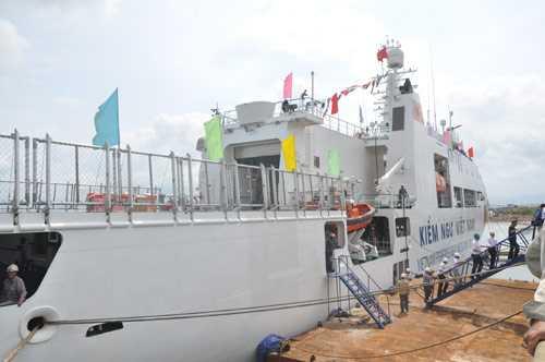 Tàu KN 781 đã sẵn sàng bàn giao, tàu kiểm ngư số 2 dự kiến bàn giao vào 15.7.2014 - Ảnh: Thúy Hằng