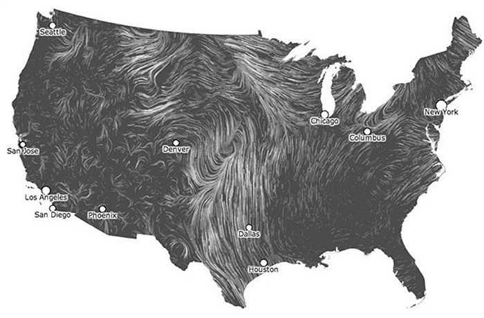 Trong ảnh là bản đồ thời gian thực và cập nhật liên tục về chuyển động của gió trên khắp nước Mỹ, được hình thành từ dữ liệu của Cơ quan Dữ liệu Dự báo Kỹ thuật số Quốc gia.