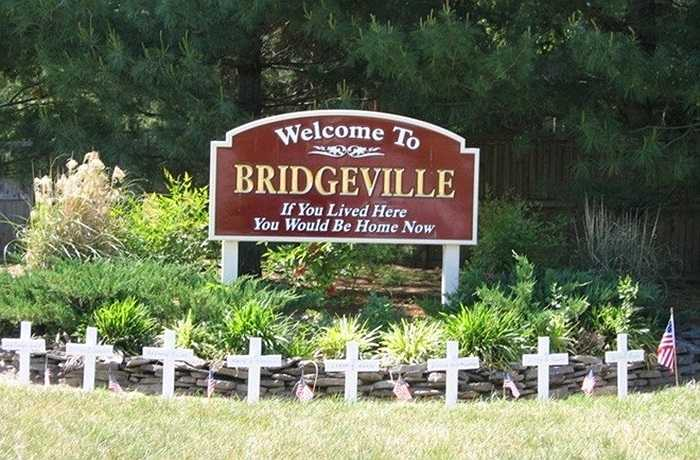 Thị trấn rộng hơn 335.000m2 này chỉ có 8 căn nhà, một quán cà phê và 30 cư dân. Thị trấn thuộc sở hữu tư nhân này được rao bán trên eBay và được mua với giá 1,77 triệu USD. Thị trấn Bridgeville được gia đình Lapple mua vào năm 1973 và rao bán vào năm 2002.