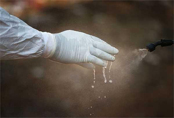 Nhân viên trong đội an táng khử trùng bao tay sau khi an táng xong một phụ nữ qua đời vì  nhiễm Ebola.