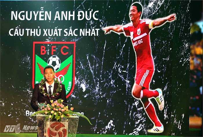 Tiền đạo, đội trưởng B.Bình Dương là Nguyễn Anh Đức giành danh hiệu cầu thủ xuất sắc nhất V-League 2014.