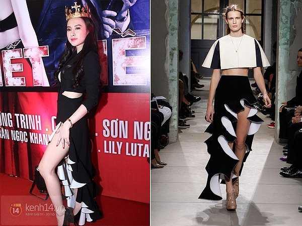 Có thể kể đến một 'bộ sưu tập' váy nhái của Angela Phương Trinh với các mỹ nhân trên thế giới