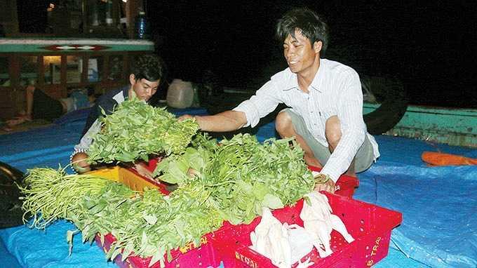 Các loại rau củ, thịt gà được thuyền viên Nguyễn Hàn cất giữ vào thùng nước đá để cung cấp cho các tàu cá.