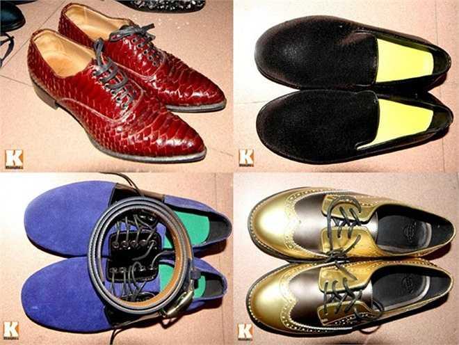 Những đôi giày hiệu có màu sắc và kiểu dáng độc đáo của 'ông hoàng nhạc Việt'.
