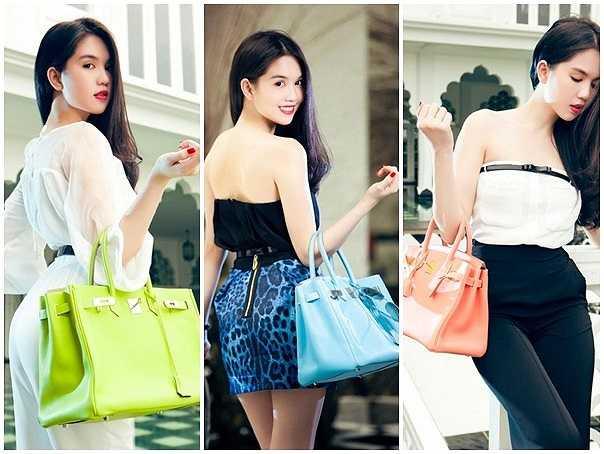 Cô sở hữu đến 10 chiếc túi Hermes trong tủ đồ, trong đó mẫu thiết kế màu trắng pha sọc cam thuộc dòng limited edition này có giá khoảng 500 triệu đồng.