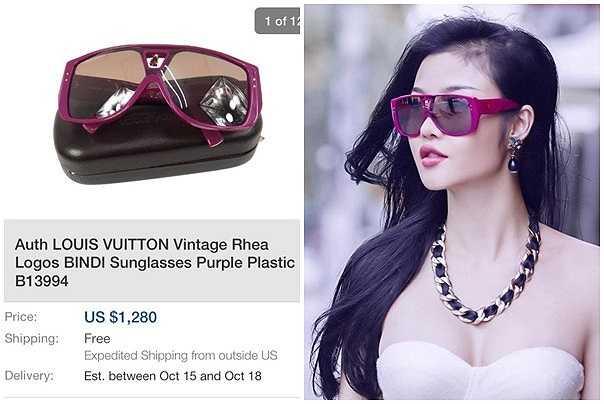 Trang phục hiện đại phù hợp với chiếc kính của hãng Louis Vuitton. Chất liệu kính là plastic và mang tông màu tím khá mới lạ.