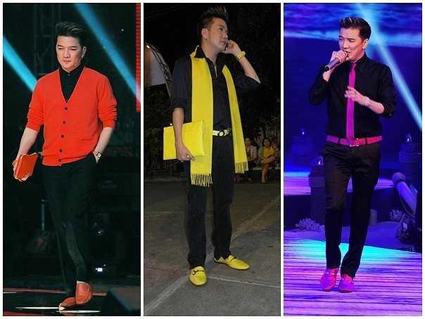 Những đôi giày nổi bật giúp anh hoàn thiện phong cách.  Phụ kiện giày, túi phối hợp ăn ý cùng trang phục, giúp nam ca sỹ nổi bật trên sân khấu.