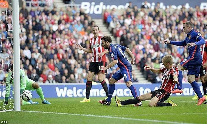 Hàng thủ kín kẽ của Mèo đen chỉ mắc sai lầm duy nhất trong tình huống ghi bàn mở tỉ số của Juan Mata cho Quỷ đỏ.