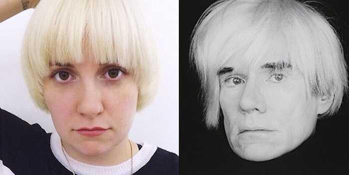 Các sao ngoại cũng có những khoảnh khắc giống nhau gây bất ngờ. Lena Dunham với mái tóc mới giống hệt Andy Warhol, cha đẻ của trường phái Pop-art.