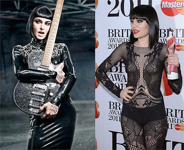 Gương mặt vuông và vẻ ngoài cá tính của Jessie J giống hệt nữ ca sỹ Sinead O'Connor.