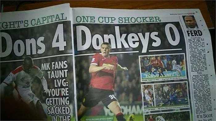 Một số tờ báo đăng tải dòng tít đầy châm biếm khi ví Man Utd như những chú lừa tội nghiệp - 'Donkeys'.