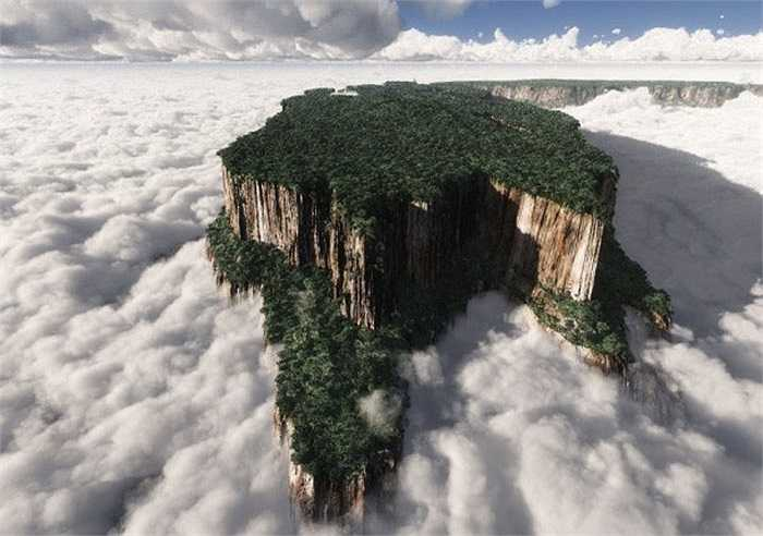 Đỉnh núi Tepuis nằm trên cao nguyên Guayana, Venezuela quanh năm bao phủ bởi lớp mây bồng bềnh, huyền ảo từng xuất hiện trong phim hoạt hình 'Up'. Kỳ quan thiên nhiên này là nơi tiếp giáp giữa trời và đất, du khách như được lạc vào chốn thiên đường.
