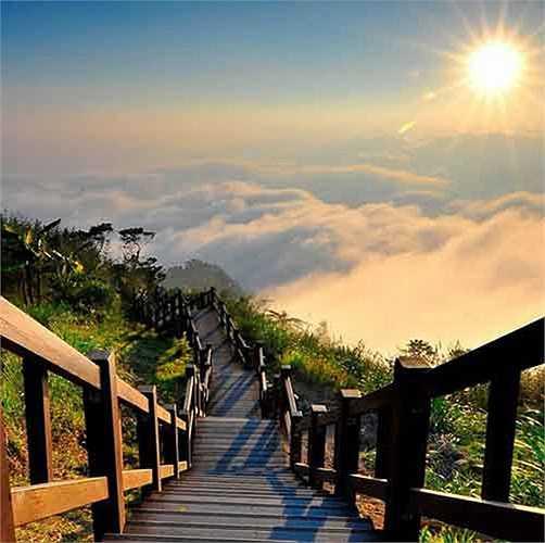 Mệnh danh là Nấc thang lên thiên đường, công viên quốc gia Yushan ấn tượng với nhiều hẻm núi, sông suối dầy đặc, các đỉnh tai mèo sừng sững tạo nên vẻ đẹp hùng vĩ như được bước tới nơi bồng lai tiên cảnh.