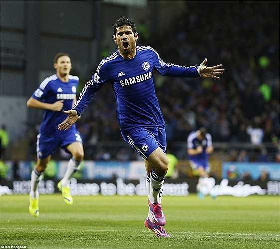 Vị trí cuối cùng thuộc về Diego Costa, người được Chelsea mua về từ Atletico Madrid với mức giá 33 triệu bảng