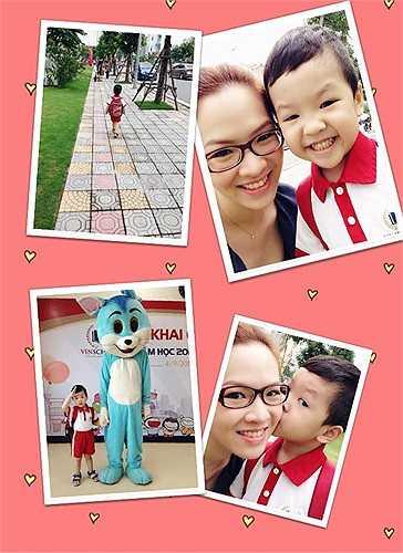 Đan Lê đưa con trai đi học.