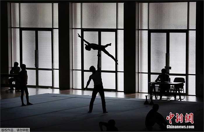 Một cảnh tập luyện của các vận động viên Triều Tiên