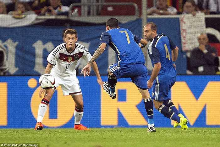 Không Messi, Di Maria trở thành cầu thủ dẫn dắt lối chơi của ĐT Argentina trong trận giao hữu với ĐT Đức