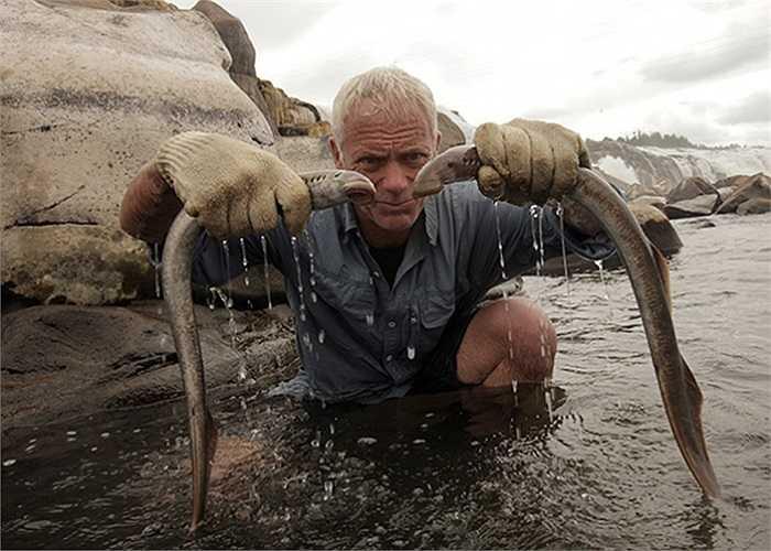 Wade và 2 con cá mút đá mới săn được