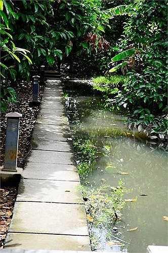 Cạnh đó còn có thêm lối đi dẫn ra một góc khác của khu vườn lớn với ao hồ xung quanh.