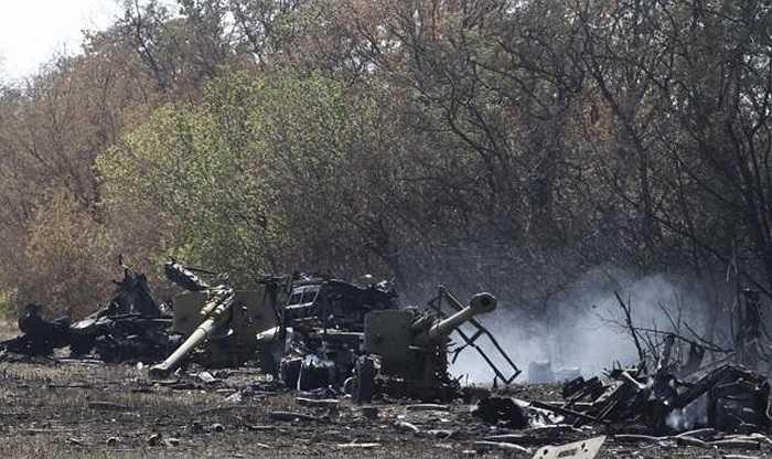 Khẩu pháo bị phá hủy của lực lượng chính phủ Ukraine