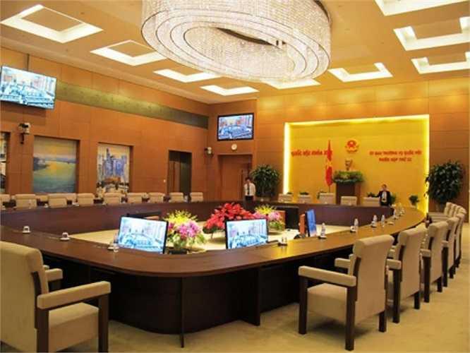 Phòng họp của Ủy ban Thường vụ Quốc hội sẵn sàng cho buổi khai mạc sáng 6/10. (Ảnh: QĐND)