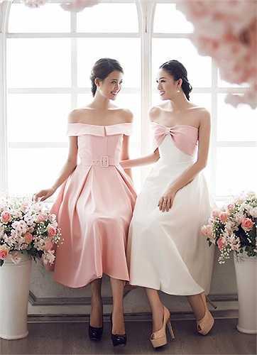 Mỹ Nhân, Lê Hà như chị em khi diện trang phục có kiểu dáng và màu sắc tương tự nhau.