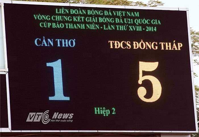 Kết thúc 90 phút thi đấu, U21 Đồng Tháp thắng đậm đối thủ 5-1 và lọt vào bán kết