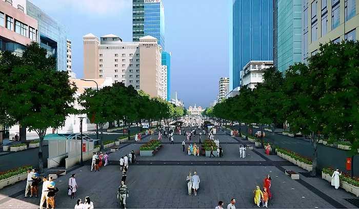 Ông Ngô Bá An, Phó Giám đốc Khu Quản lý giao thông đô thị số 1 (chủ đầu tư) cho biết, dự án nâng cấp, cải tạo đường Nguyễn Huệ sẽ được thi công kể từ ngày 15/10/2014 và hoàn thành vào ngày 25/4/2015. (Ảnh Sỹ Hưng)