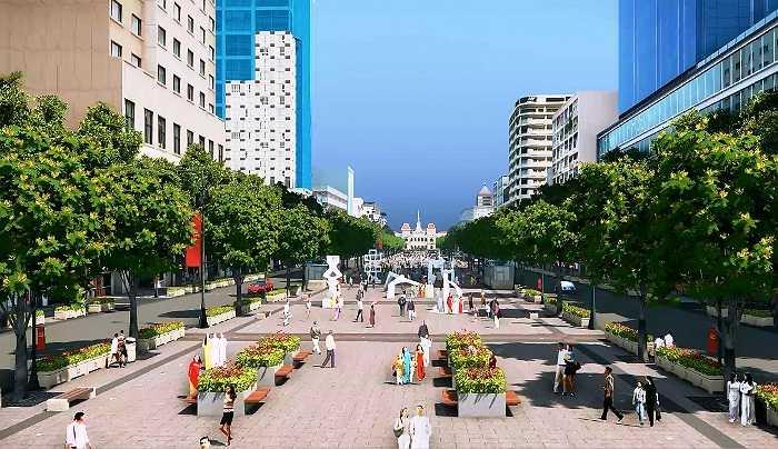 Đường Nguyễn Huệ sẽ được phong tỏa để cải tạo, xây dựng thành đường đi bộ, mặt đường và vỉa hè được lát bằng đá granite với hệ thống đèn chiếu sáng, cây xanh…. (Ảnh Sỹ Hưng)