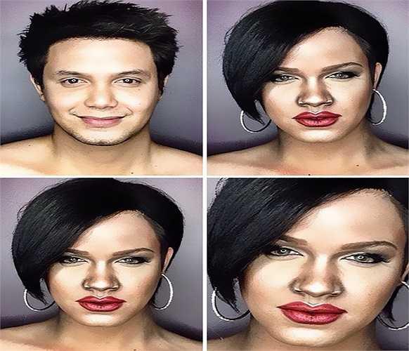 Nếu trước kia bạn chưa bao giờ tin tưởng vào sức mạnh của trang điểm thì những bức hình này có thể thay đổi tâm trí của bạn. Đây là hình ảnh của nữ ca sĩ Rihanna