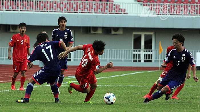 Công Phượng chới với trong vòng vây U19 Nhật Bản