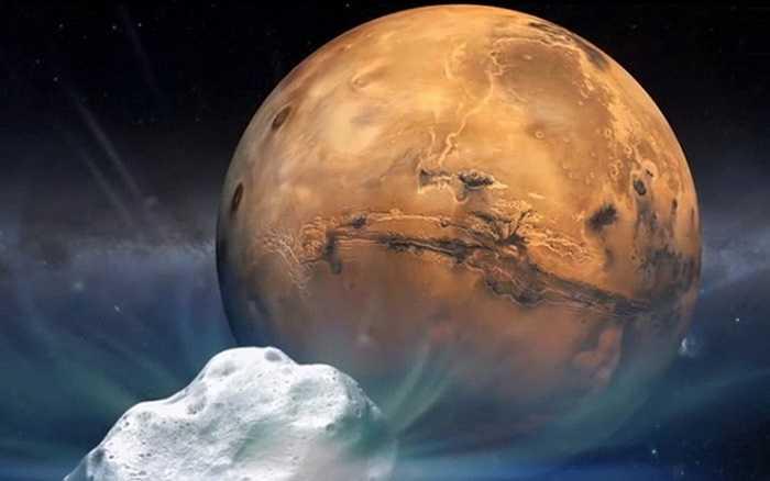 Mô hình sao chổi Siding Spring đi sát qua sao Hỏa.