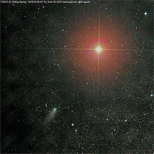 Khoảnh khắc hiếm có trong lịch sử khi sao chổi Siding Spring (màu xanh, phía dưới, bên trái) đi qua sao Hỏa.