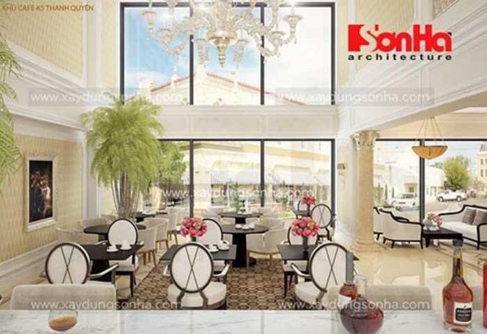 Tinh tế trong từng chi tiết nội thất, phong cách thiết kế nội thất theo kiến trúc Pháp giúp sảnh thêm trang trọng