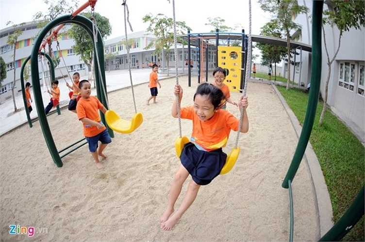 Trong khuôn viên của trường Wellspring có rất nhiều không gian thư giãn, vui chơi cho học sinh.