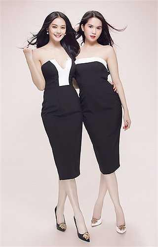 Hai người mẫu diện đồ đôi, khoe làn da trắng nõn nà không tì vết.