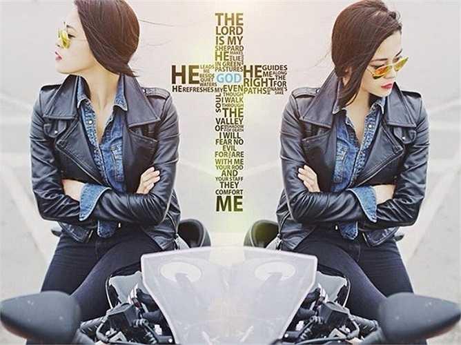Những hình ảnh cá tính của cô gái sở hữu Ducati hồng đang được dân mạng truyền tay nhau liên tục. Ảnh: Đất Việt.