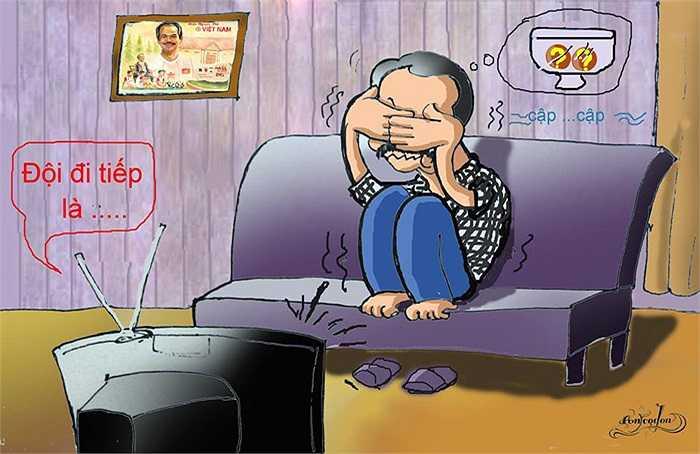 Hỉnh ảnh bầu Đức ngồi theo dõi phần bốc thăm qua tivi (Tranh: An Thắng)
