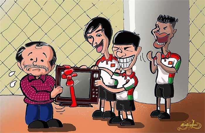 Trước đó, họa sĩ An Thắng cũng từng có những bức họa rất vui nhộn về bầu Đức và các cầu thủ U19 HAGL Arsenal JMG. (Tranh: An Thắng)