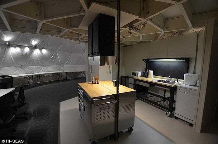 Hình ảnh gian bếp bên trong vòm trắc địa, nơi phi hành gia thử nghiệm cuộc sống như trên sao Hỏa. Họ sẽ được cung cấp lượng thực phẩm y hệt như trong nhiệm vụ tương lai, nơi họ sẽ đặt chân lên sao Hỏa thật.